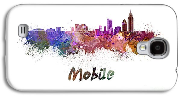 Art Mobile Galaxy S4 Cases - Mobile skyline in watercolor Galaxy S4 Case by Pablo Romero