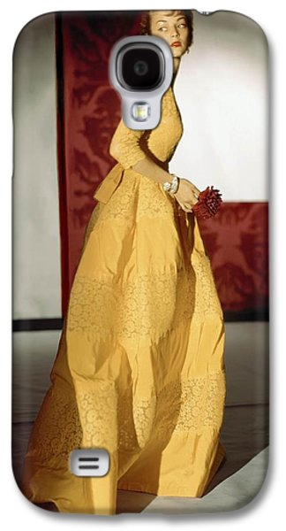 Ball Gown Galaxy S4 Cases - Model Wearing A Lemon Yellow Evening Galaxy S4 Case by Conde Nast