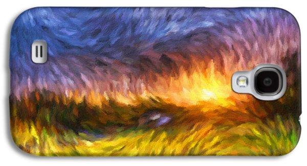 Sunset Abstract Galaxy S4 Cases - Modern Landscape Van Gogh Style Galaxy S4 Case by Georgiana Romanovna