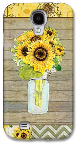 Mason Jars Galaxy S4 Cases - Modern Rustic Country Sunflowers in Mason Jar Galaxy S4 Case by Audrey Jeanne Roberts
