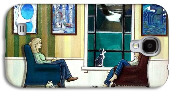 Mom And Daughter Sitting In Chairs With Sphynxes Galaxy S4 Case by John Lyes