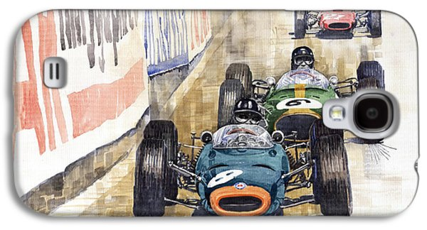 Watercolour Galaxy S4 Cases - Monaco GP 1964 BRM Brabham Ferrari Galaxy S4 Case by Yuriy  Shevchuk