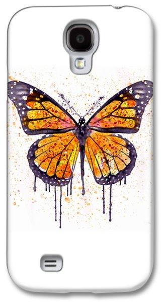Modern Digital Digital Digital Galaxy S4 Cases - Monarch Butterfly watercolor Galaxy S4 Case by Marian Voicu