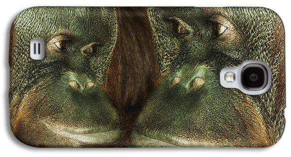 Ape Digital Art Galaxy S4 Cases - Monkey Love Galaxy S4 Case by Jack Zulli