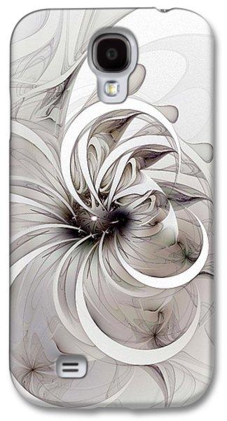 Floral Digital Digital Galaxy S4 Cases - Monochrome flower Galaxy S4 Case by Amanda Moore