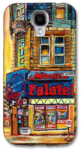 Montreal Storefronts Paintings Galaxy S4 Cases - Monsieur Falafel Galaxy S4 Case by Carole Spandau