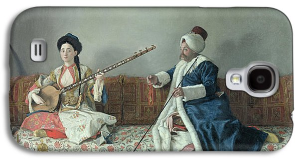 Lute Paintings Galaxy S4 Cases - Monsieur Levett and Mademoiselle Helene Glavany in Turkish Costumes Galaxy S4 Case by Jean Etienne Liotard