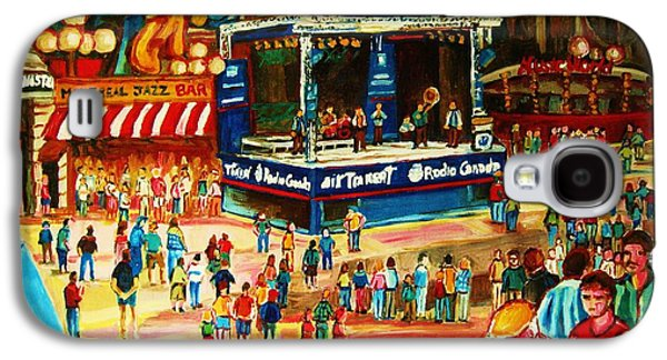 Montreal Storefronts Paintings Galaxy S4 Cases - Montreal Jazz Festival Galaxy S4 Case by Carole Spandau