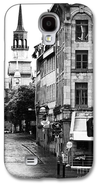 Old Montreal Galaxy S4 Cases - Montreal Street in Black and White Galaxy S4 Case by John Rizzuto