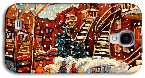 Montreal Storefronts Paintings Galaxy S4 Cases - Montreal Street In Winter Galaxy S4 Case by Carole Spandau