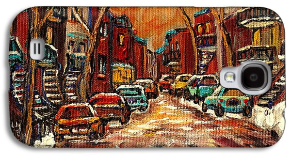 Montreal Storefronts Paintings Galaxy S4 Cases - Montreal Streets In Winter Galaxy S4 Case by Carole Spandau