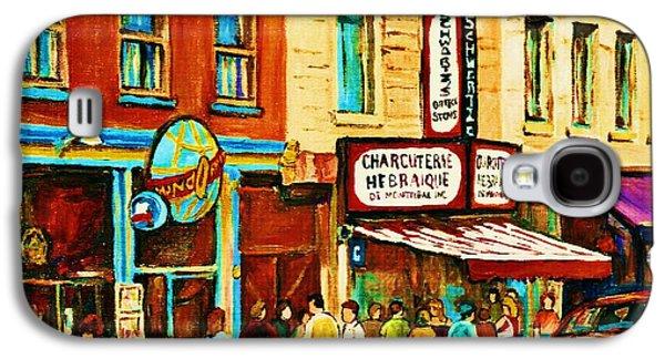 The Main Montreal Galaxy S4 Cases - Montreal Streetscene Artist Carole Spandau Paints Schwartzs Main Street Hustle Bustle Galaxy S4 Case by Carole Spandau