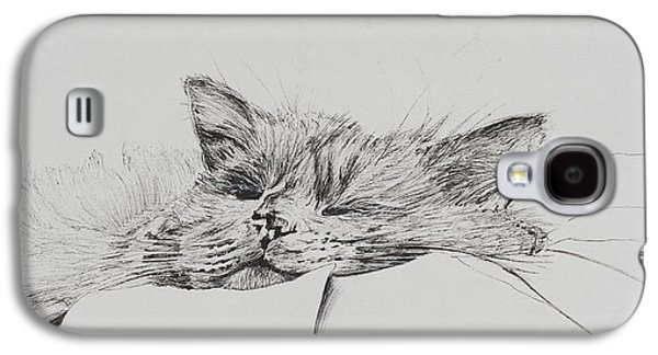 Pen And Ink Drawing Drawings Galaxy S4 Cases - Monty  sleepy boy Galaxy S4 Case by Vincent Alexander Booth