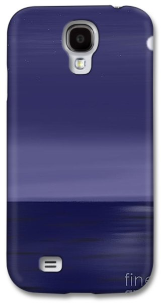 Abstract Seascape Pastels Galaxy S4 Cases - Moon and Stars Galaxy S4 Case by Jerod Roberts