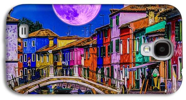 Transportation Photographs Galaxy S4 Cases - Moon over Venice Art Galaxy S4 Case by Ron Fleishman