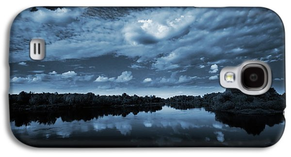 Evening Digital Galaxy S4 Cases - Moonlight over a lake Galaxy S4 Case by Jaroslaw Grudzinski