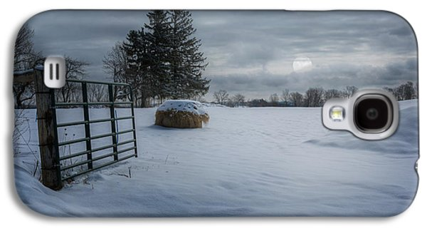 Moonlit Night Photographs Galaxy S4 Cases - Moonlit Winter Pasture Galaxy S4 Case by Bill Wakeley