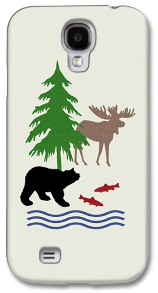 Cabins Galaxy S4 Cases - Moose and Bear Pattern Art Galaxy S4 Case by Christina Rollo