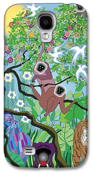 Hippopotamus Digital Galaxy S4 Cases - Morning at the Jungle Galaxy S4 Case by Lydia Davis