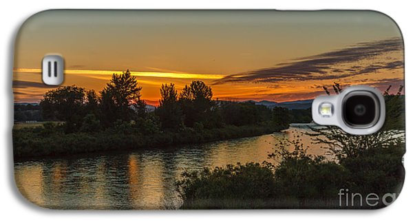 Haybale Galaxy S4 Cases - Morning Color Over The Payette River Galaxy S4 Case by Robert Bales
