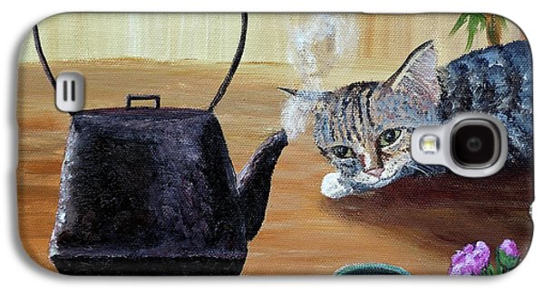 Gray Tabby Galaxy S4 Cases - Morning Cup of Tea Galaxy S4 Case by Laura Iverson