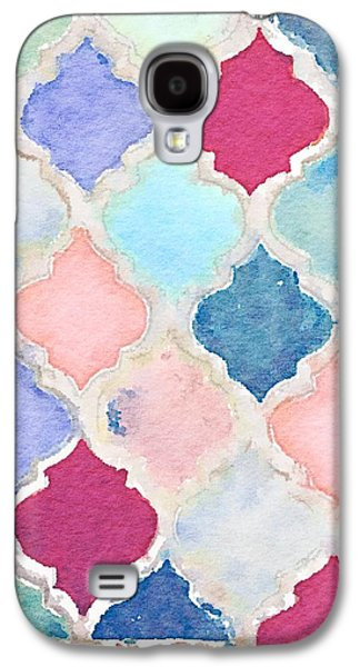 Tile Mosaic Ceramics Galaxy S4 Cases - Moroccan Diamond Mosaic Painted in Waterlogue Galaxy S4 Case by Evelyn Taylor Designs