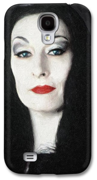 Character Portraits Paintings Galaxy S4 Cases - Morticia Addams  Galaxy S4 Case by Taylan Soyturk