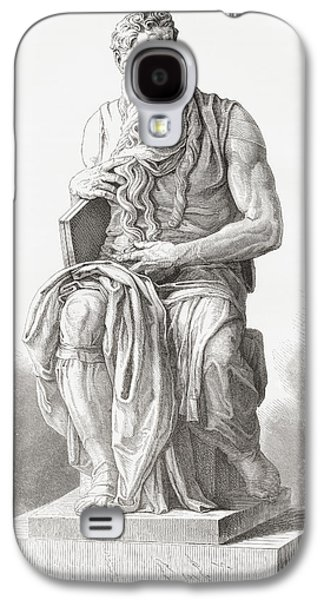 Statue Portrait Drawings Galaxy S4 Cases - Moses, C. 1513 Galaxy S4 Case by Ken Welsh
