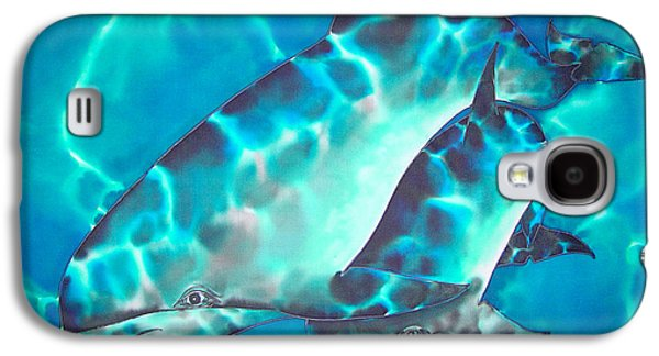 Dolphin Tapestries - Textiles Galaxy S4 Cases - Mother and Baby Galaxy S4 Case by Daniel Jean-Baptiste