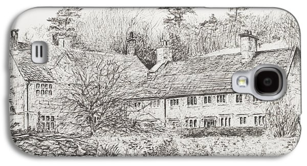 Pen And Ink Drawing Drawings Galaxy S4 Cases - Mottistone Hall  Isle of Wight Galaxy S4 Case by Vincent Alexander Booth