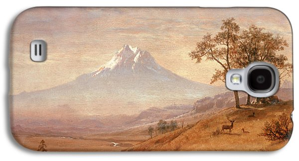 Snow Capped Galaxy S4 Cases - Mount Hood Galaxy S4 Case by Albert Bierstadt