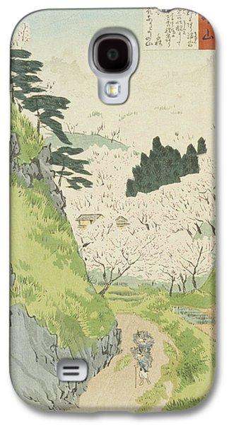 Cherry Blossoms Drawings Galaxy S4 Cases - Mount Yoshino   Cherry Blossoms  Galaxy S4 Case by Kobayashi Kiyochika
