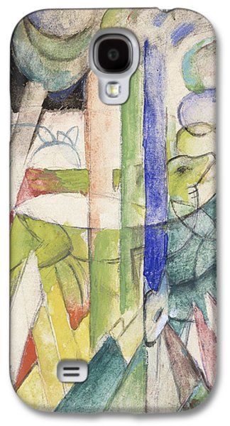 Abstract Shapes Drawings Galaxy S4 Cases - Mountain Goat Galaxy S4 Case by Franz Marc