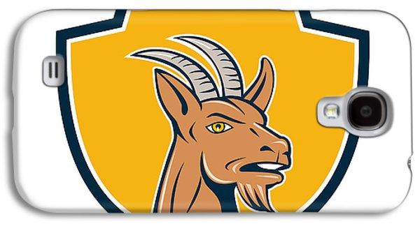 Goat Digital Galaxy S4 Cases - Mountain Goat Head Shield Cartoon Galaxy S4 Case by Aloysius Patrimonio