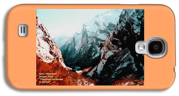 Abstract Digital Pastels Galaxy S4 Cases - Mountain Landscape In Winter H A Galaxy S4 Case by Gert J Rheeders