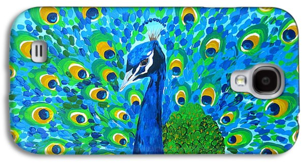 Nature Abstracts Galaxy S4 Cases - Mr Peacock Galaxy S4 Case by Cathy Jacobs