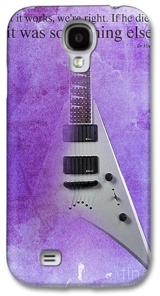 Mr Spock Inspirational Quote And Electric Guitar Purple Vintage Poster For Musicians And Trekkers Galaxy S4 Case by Pablo Franchi