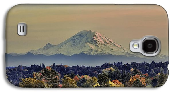 Snow Tree Prints Galaxy S4 Cases - Mt Rainer Fall Color Rising Galaxy S4 Case by James Heckt