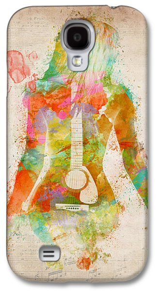 Nudes Digital Galaxy S4 Cases - Music Was My First Love Galaxy S4 Case by Nikki Marie Smith