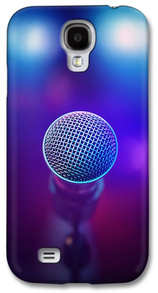 Conceptual Photographs Galaxy S4 Cases - Musical Microphone on stage Galaxy S4 Case by Johan Swanepoel
