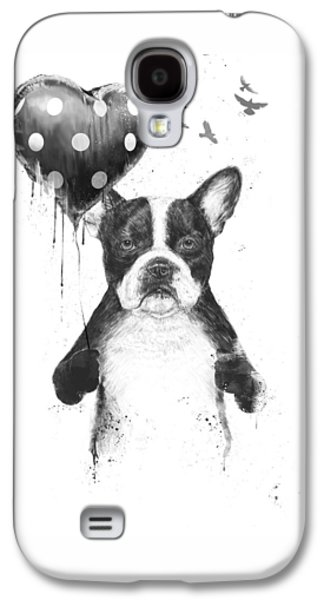 Dogs Mixed Media Galaxy S4 Cases - My heart goes boom Galaxy S4 Case by Balazs Solti