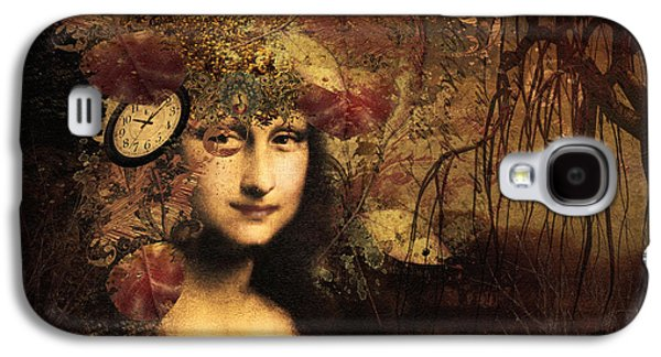 Little Girls Mixed Media Galaxy S4 Cases - My Little Secret - Mona Lisa Galaxy S4 Case by Georgiana Romanovna