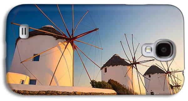 Europa Galaxy S4 Cases - Mykonos Windmills Galaxy S4 Case by Inge Johnsson
