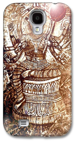 Incarnation Galaxy S4 Cases - Illuminated Narasimha Dev in Sepia Galaxy S4 Case by Michael African Visions