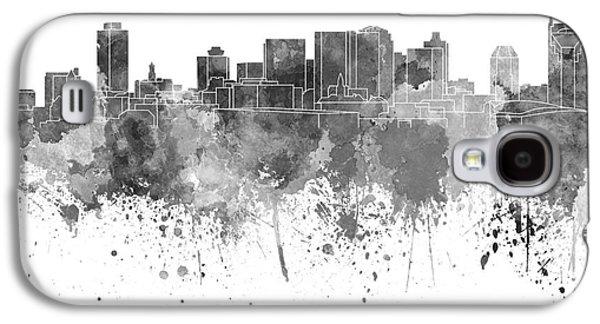 Nashville Skyline In Black Watercolor On White Background Galaxy S4 Case by Pablo Romero