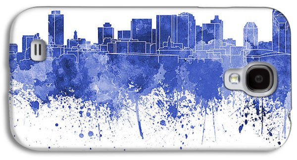 Nashville Tennessee Paintings Galaxy S4 Cases - Nashville skyline in blue watercolor on white background Galaxy S4 Case by Pablo Romero