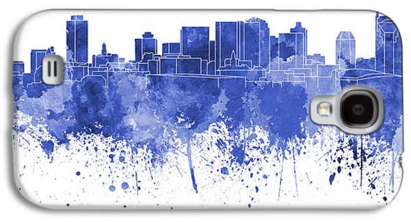 Nashville Skyline In Blue Watercolor On White Background Galaxy S4 Case by Pablo Romero