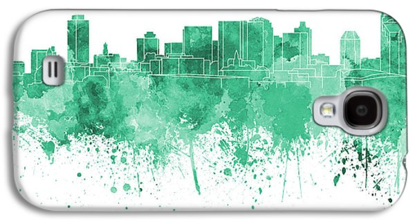 Nashville Paintings Galaxy S4 Cases - Nashville skyline in green watercolor on white background Galaxy S4 Case by Pablo Romero