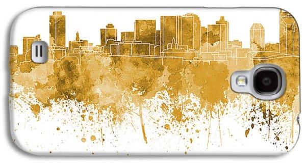 Nashville Skyline In Orange Watercolor On White Background Galaxy S4 Case by Pablo Romero