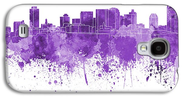 Nashville Tennessee Paintings Galaxy S4 Cases - Nashville skyline in purple watercolor on white background Galaxy S4 Case by Pablo Romero